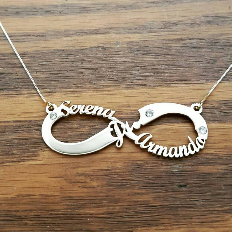 91667affe9d5 Gold Infinity Name Necklace 3 Name Infinity Birthstone