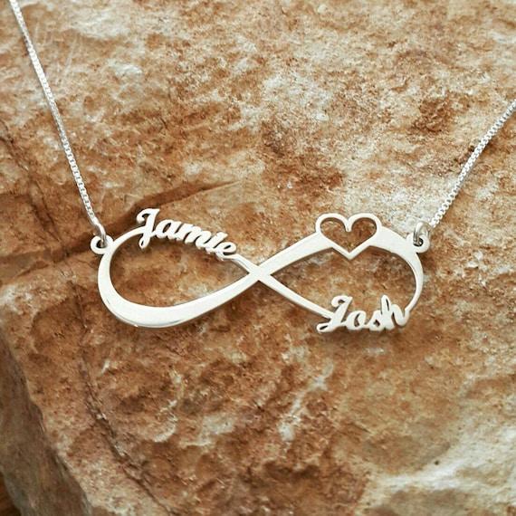 abdb05dbcedf 14k White Gold Infinity Love necklace   Wedding Gift   Bridal