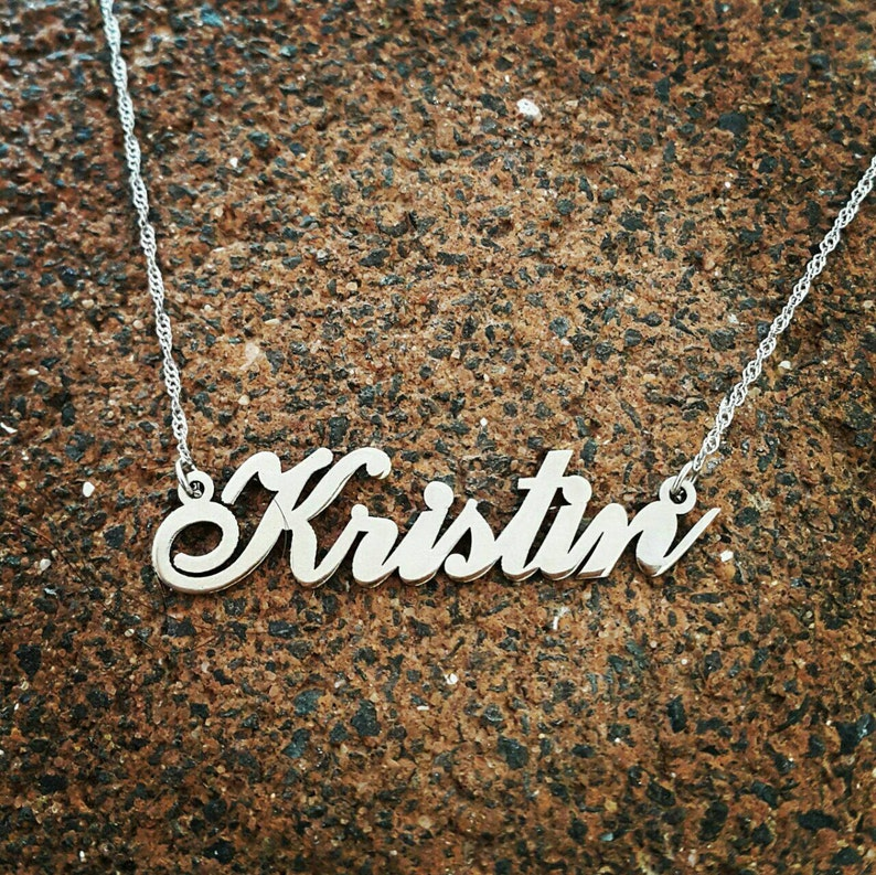Kristin style Name Necklace  Solid 14k White gold Necklace  custom name necklace  Personalized Name Necklace  Real Gold  Pure 14k Gold