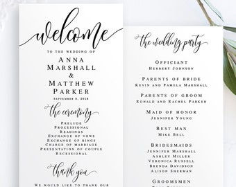 wedding program template etsy