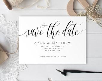 Printable Wedding Save the Date DIY Calligraphy Gracefully Photo PDF -Digital File jpeg Note Card Printed Postcard Magnet Damask
