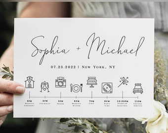 Simple Timeline Template, Schedule Of Events, Wedding Party Time Line, Templett, Hotel Welcome, Itinerary, Infographic, Minimalism #vmt710