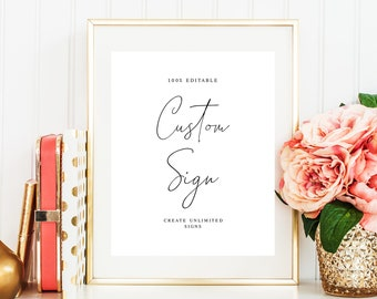 Fully Editable Create multiple DIY Personalized Typography Templett Cards And Gifts Sign Template Wedding Table Decor Classic #vmt910
