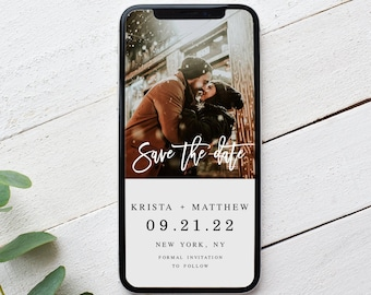 Electronic Save The Date Template, Text Message Save The Date Evite, Phone, Eco Friendly, Digital, Photo, Picture, Instant Download #vmt210