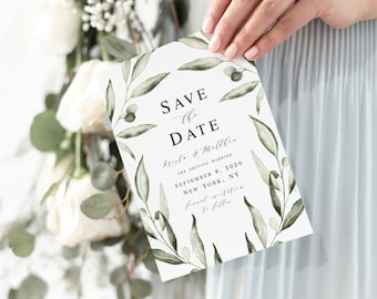 Italy Save the Date printable invitation Tuscan hillside we edit YOU PRINT olives Tuscany watercolour save the date 5 x 7 lemon