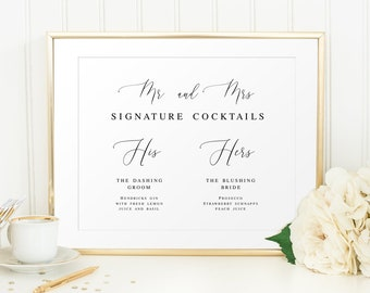 Wedding Signature Drink Cocktail Sign for your Wedding Mr and Mrs Signature Cocktails Sign PDF Instant Download 8x10 4x6 Pastel Blooms 5x7