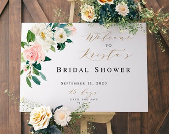16424d1ef1b Bridal shower welcome sign template Printable 100% Editable text Templett  Ivory Flower Bridal Brunch Horizontal Welcome board Boho  vmt323