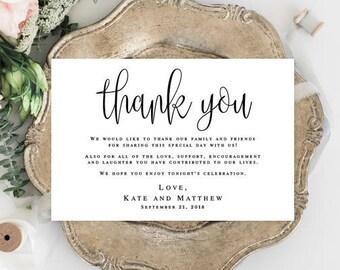 Wedding thank you notes Printable templates Editable thank you template Thank you for guests Thank you table cards for Wedding cards #vm41