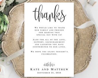 Thanks wedding card template Wedding thank you template Wedding note cards for guests Editable thank you card Wedding thank you letter #vm41