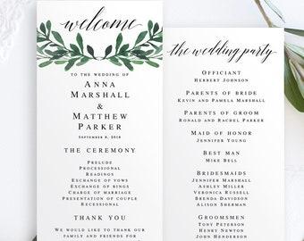 Greenery wedding program template Greenery template Wedding program template download Editable template pdf Wedding program download #vm55