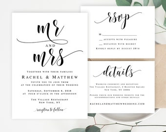 Wedding invitation template download Mr and Mrs wedding invitation DIY wedding invitation Editable wedding template Rustic invitation #vm31