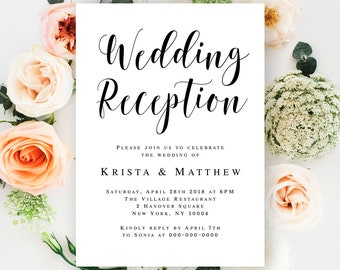 reception only invitation template rustic printable wedding etsy