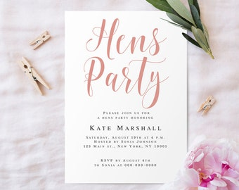 Hen party invitation etsy hens party invitation template hens party invite editable bridal shower rose gold bridal party invitation rose gold bachelorette invitation stopboris Images