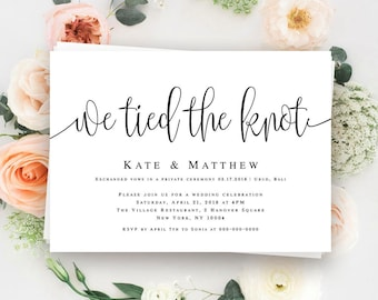 Reception invitation etsy we tied the knot invitation elopement invitation template elopement announcement post wedding reception invitation elope card download vm41 junglespirit Choice Image