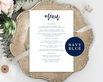 navy wedding menu template wedding menu download navy blue menu card wedding dinner menu nautical menu wedding menu template download vm93