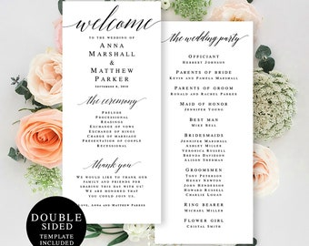 Wedding Program Template Etsy