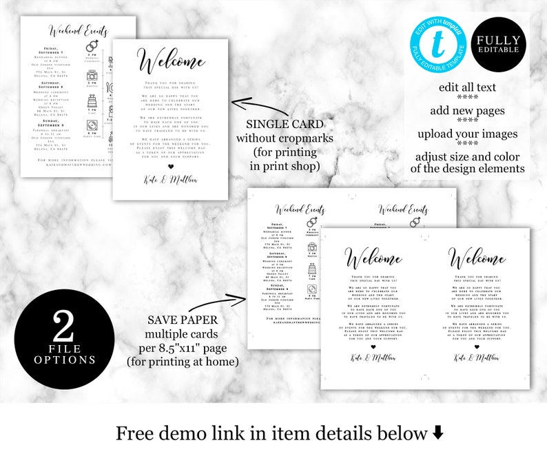 Modern Welcome Bag Insert Order Of Events Templett #vmt5111 Welcome Letter Wedding Day Itinerary Template 100/% Editable Icon Timeline