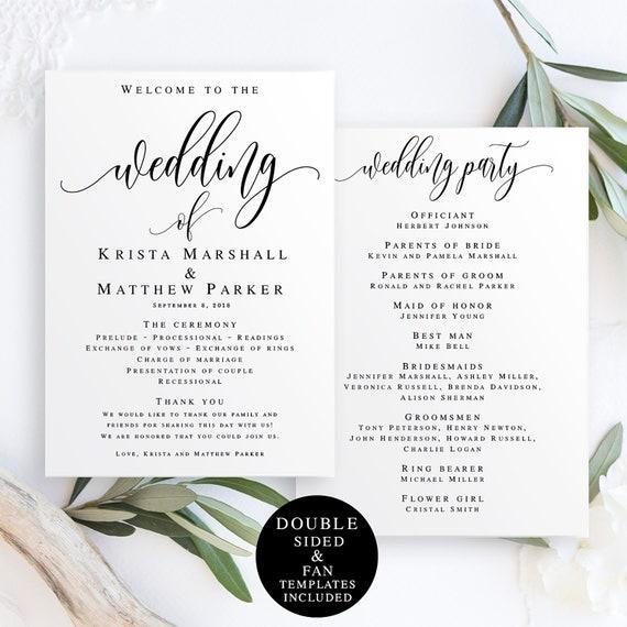 wedding fan template program fan template editable diy etsy