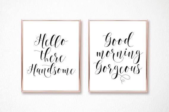 Hallo Schönen Guten Morgen Wunderschöne Seine Ihn Geschenke Hochzeit Dusche Hochzeit Geschenk Hochzeit Banner Und Zeichen Digitaldrucke Download Vm31