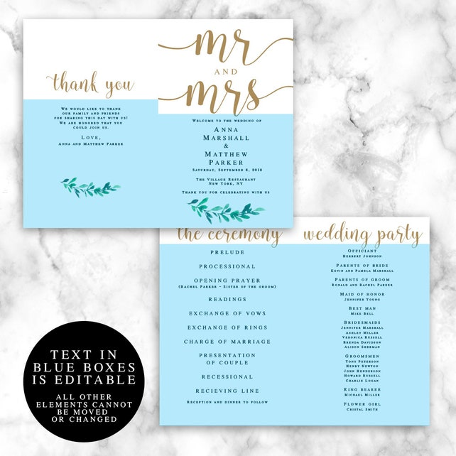 Greenery Gold Folded Wedding Program Template Folded Wedding
