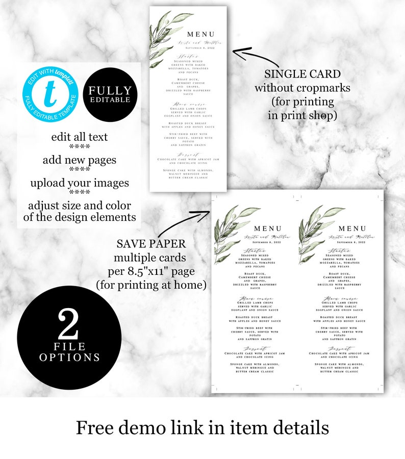 DIY Card pdf jpg 100/% Editable Tuscany #vmt3115 Printable Templett Try before you buy Olive Instant Download Wedding Menu Template