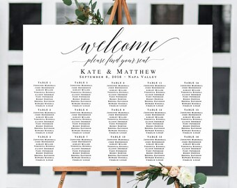 Horizontal seating chart template Wedding seating chart template Horizontal welcome seating chart sign Rustic seating chart download #vm51