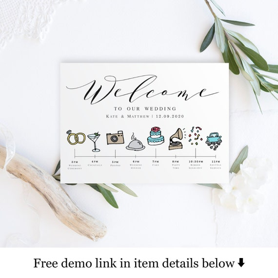 Schedule Of Events Wedding Day Timeline Template Templett Download Hotel Welcome Card Create Your Own Itinerary Infographic 5x7 Vmt310