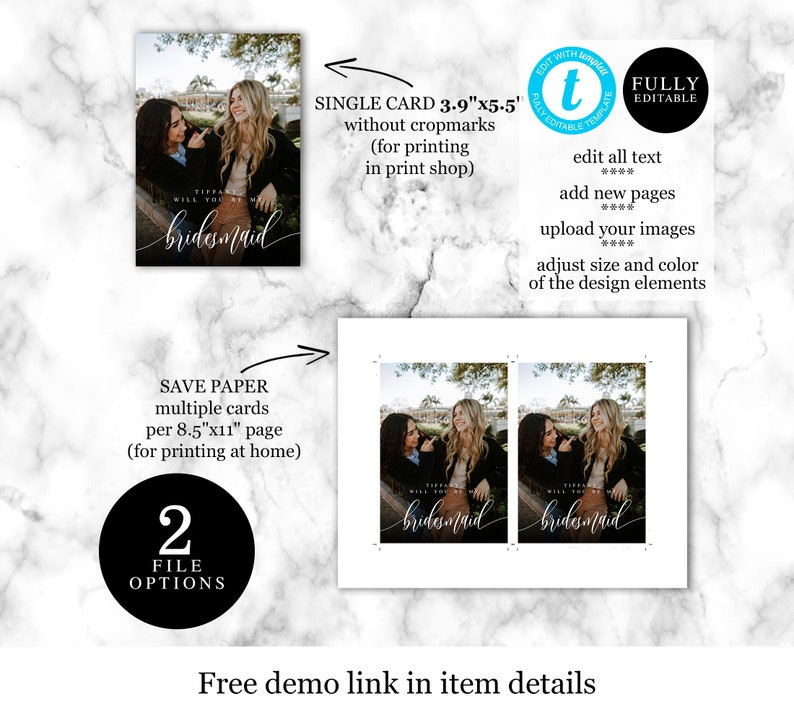 Will you be my bridesmaid wine label Bridesmaid proposal template Customizable Printable sticker Asking Bridesmaid Photo Proposal DIY #f27