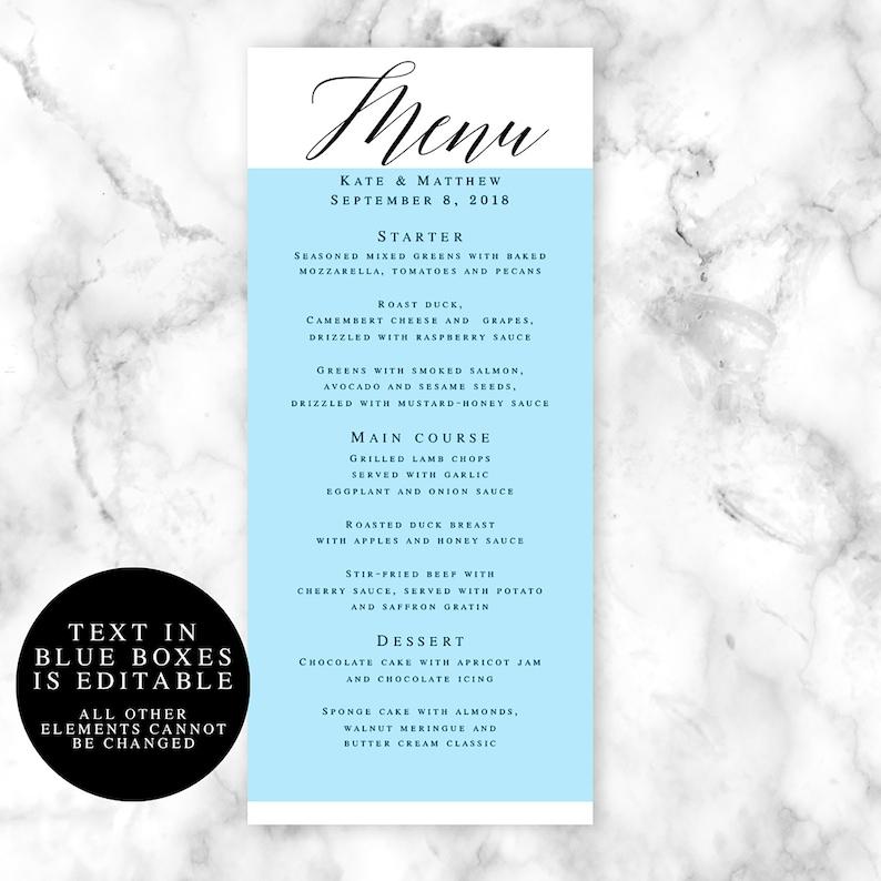 Calligraphy menu template Editable menu Wedding table decor Boho wedding Elegant wedding menu template Wedding decor Printable menu #vm51