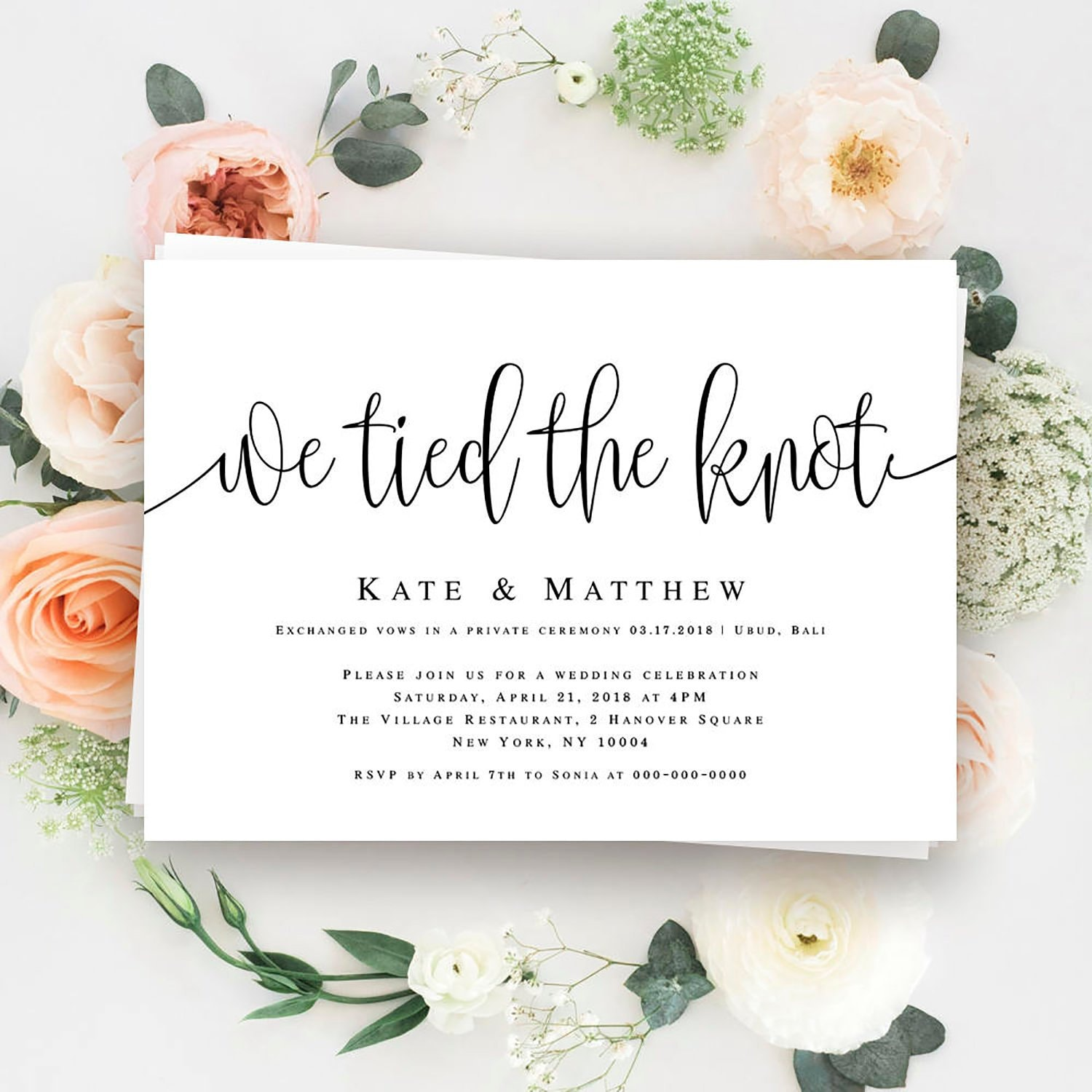 We Tied The Knot Invitation Elopement Invitation Template Etsy