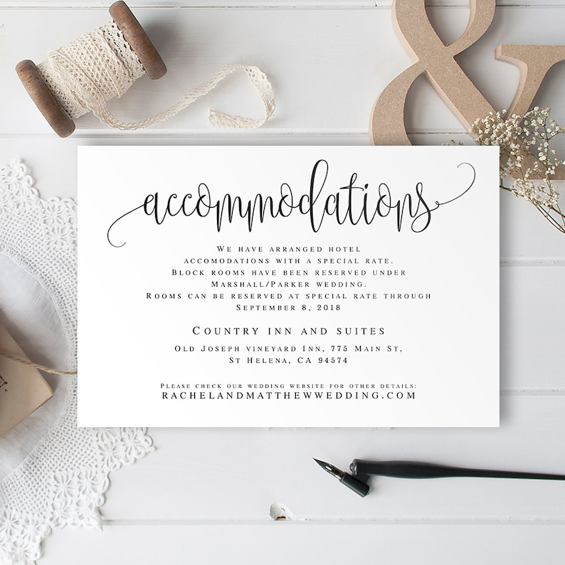 Accommodation Insert Editable Templates Accommodations Card Template PDF Wedding Invitation Enclosure Cards Printable Vm41