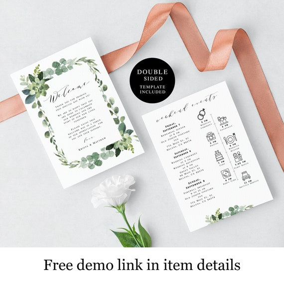 Botanical Wedding Day Itinerary Template Welcome Letter 100 Editable Icon Timeline Order Of Events Welcome Bag Insert Garden Vmt3121