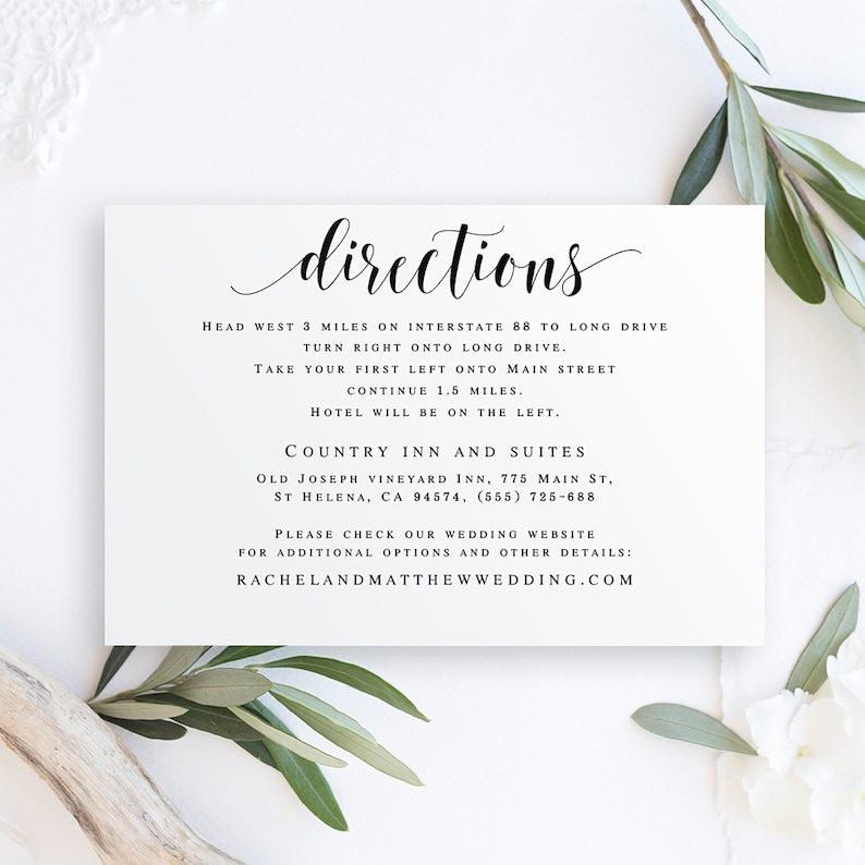 Directions template Editable pdf Directions insert Directions cards for Wedding invitation enclosure cards Wedding template printable #vm31