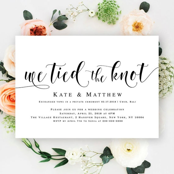 Post Wedding Reception Invitation We Tied The Knot Invitation Template Fully Editable Text Boho Floral Greenery Invitations