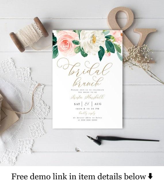 Bridal Brunch Invitation Template Self Editing Digital Pink Peach Gold Invite Printable Unlimited Diy Templett Instant Download 5x7 Vmt423
