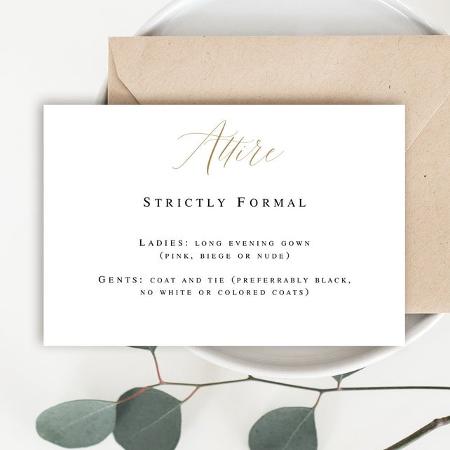 Attire Card Wedding Enclosure Card Template Gold Wedding Decor Gold