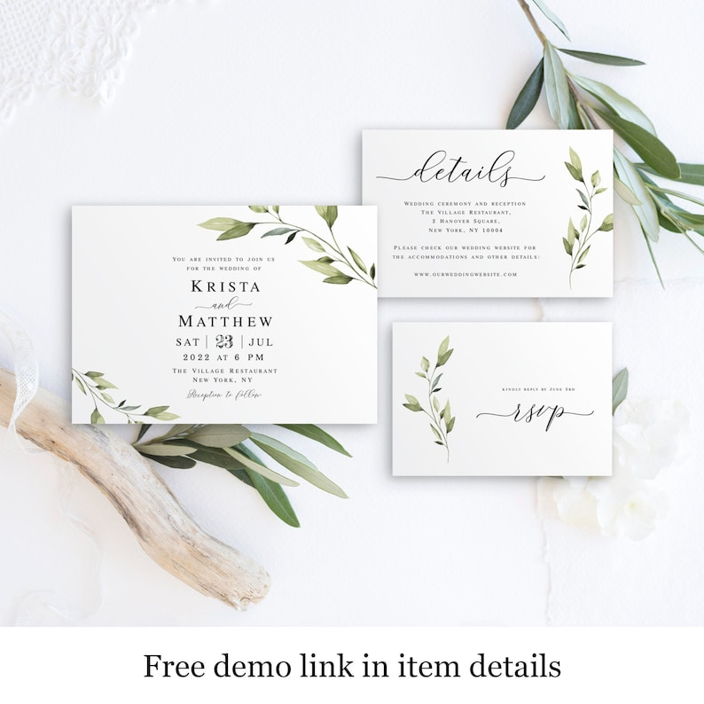 Leaves Simple #vmt43 Greenery Wedding Invitation Set Template Printable Leafy Download Fully Editable Create Multiple Downloadable