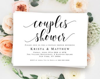 Couples shower invitation template Wedding shower invitation instant download Couples shower template Wedding shower invites printable #vm31