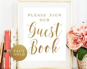 Gold wedding decor Printable guestbook sign Gold wedding signs Please sign our guestbook sign Gold wedding guest book sign DOWNLOAD #vm32
