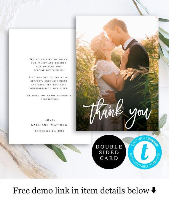 thank you photo card template thank you wedding photo thank etsy