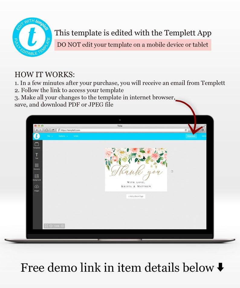 Blush Floral Thank you editable Instant download Wedding reception cards Printable Templett 100/% Editable text Invitation insert DIY #vmt423