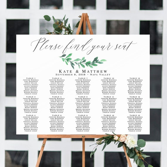 Horizontal seating chart template Greenery wedding seating chart sign Greenery signage Greenery seating chart Instant download sign #vm125