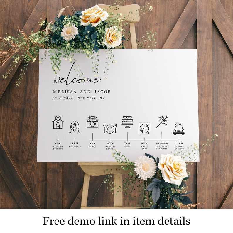 Simple Welcome Name Sign Order Of The Day Schedule Of Events Infographic DIY #vmt810 Agenda Wedding Timeline Poster Template With Icons
