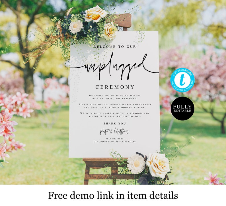 Digital Download Customizable 100/% Editable Text Edit With Templett Name With Heart DIY #f24 Printable Wedding Sign Unplugged Ceremony