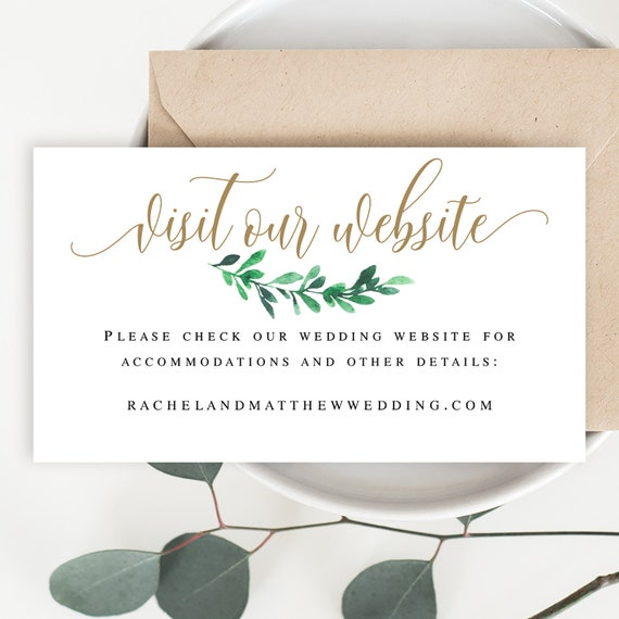 Visit Our Website Card Template Greenery Gold Invitation Insert Details Wedding Website Insert Cards Leafy Wedding Website Card Insert Vm12