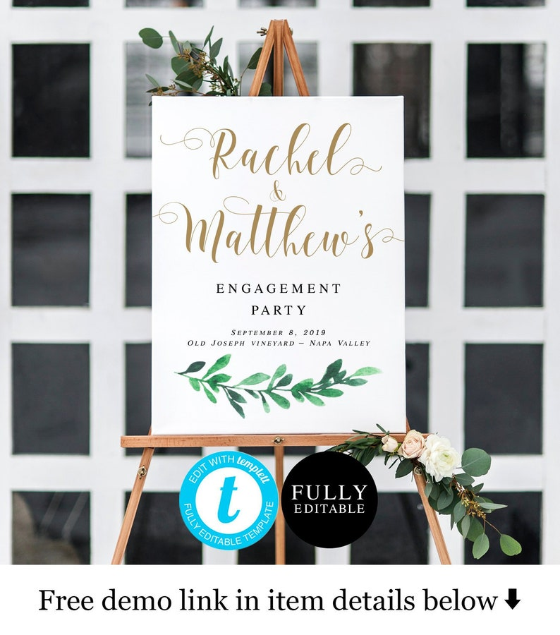 Greenery engagement welcome sign Templett Unlimited posters Create your own  sign Downloadable Bohemian Gold Engagement party theme #vmt122