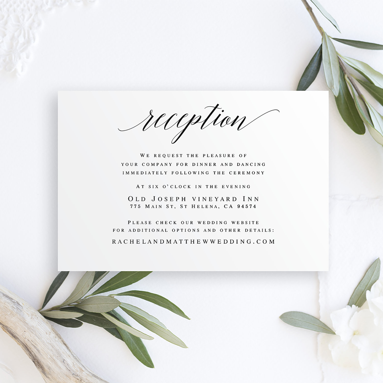 reception card template wedding insert templates editable