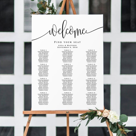 Wedding seating chart poster Welcome seating chart template Editable seating chart Printable wedding seating chart template Download #vm41