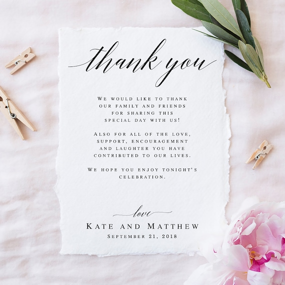 Spanish Wedding Day Thank You Note for Wedding Guests Printable Wedding Thank You Thank You Note Napkin Card Wedding Guest Thank You Note