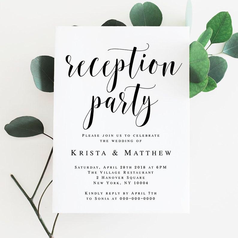 Wedding reception invitation template Editable invitation Editable template Reception invites  Rustic wedding reception decorations #vm31
